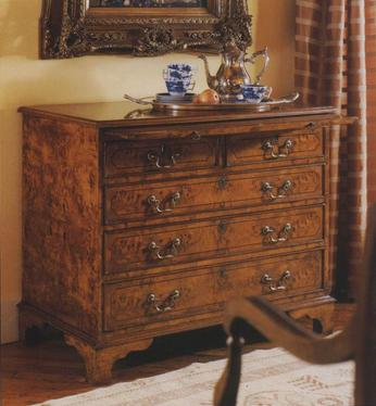 English Walnut Chest with Drawering Slide