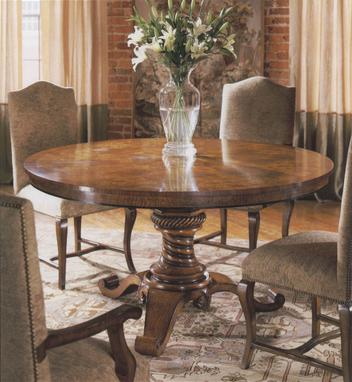 Round Mappa Burl Walnut Dining Room Table (60