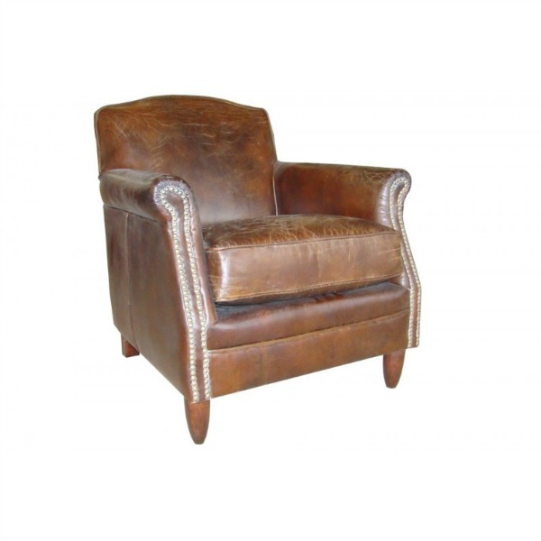 Studded front leather chair tk9371d lock stock barrel for Leather studded couch