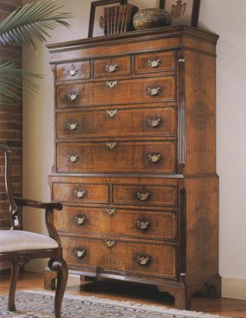 English Walnut Chest on Chest of drawers