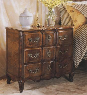 French Small 3 Drawer Walnut Chest