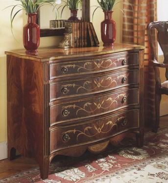 English Serpentine Walnut Chest of Drawers
