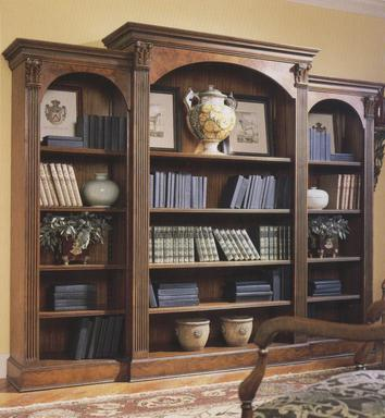 Triple Walnut Bookcase with Fluted Columns
