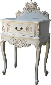 French Rococo Bedside Table in antique white