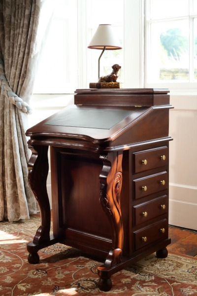 Davenport Desk with green leather