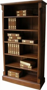 Solid Mahogany Tall Wide Pillar Bookcase