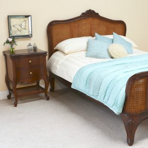 Elegance Bed & Normandy Solid Mahogany Bedside Table