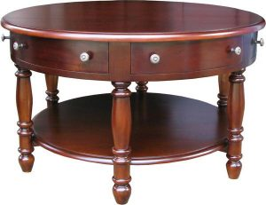 6 Drawer Round Mahogany Coffee Table