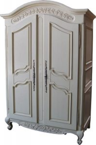 Antique White Arch Top Armoire