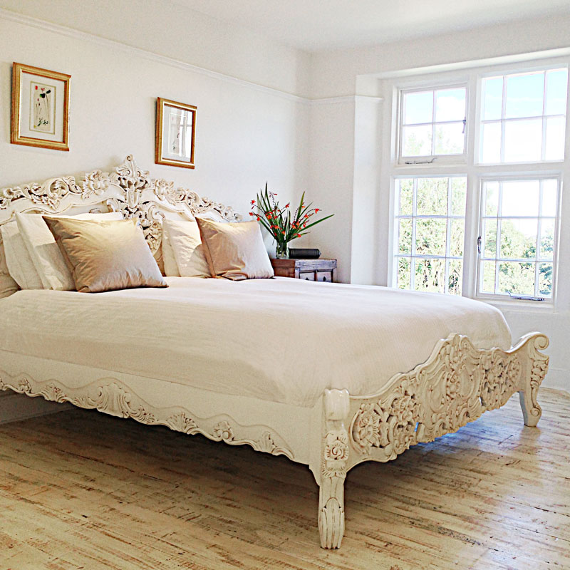 French Rococo Bed in antique white