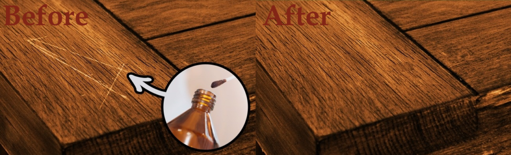 Iodine application to scratches in mahogany