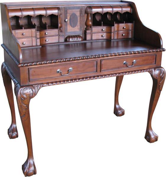Solid mahogany Chippendale Escritoire