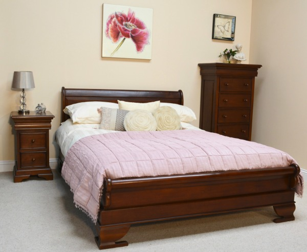 Mahogany Sleigh Bed with low footboard