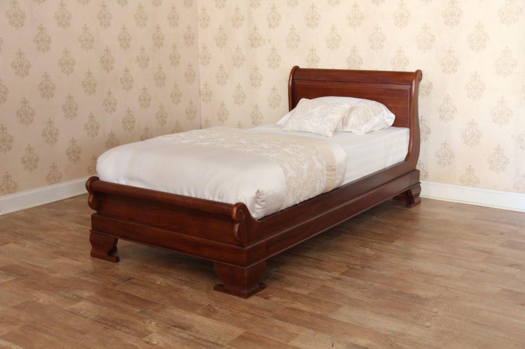 Mahogany Single Sleigh Bed Low Footboard