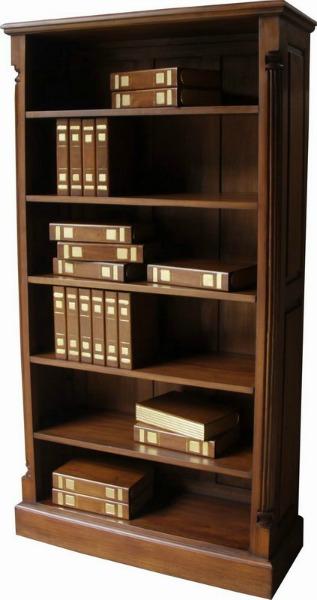 Mahogany Bookcase - Tall Wide Pillar Bookcase