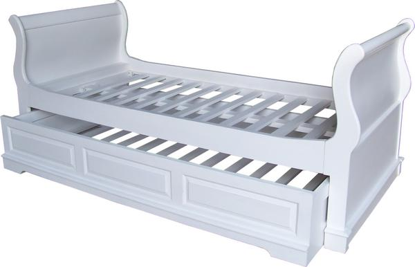 White Single Sleigh Bed with Trundle