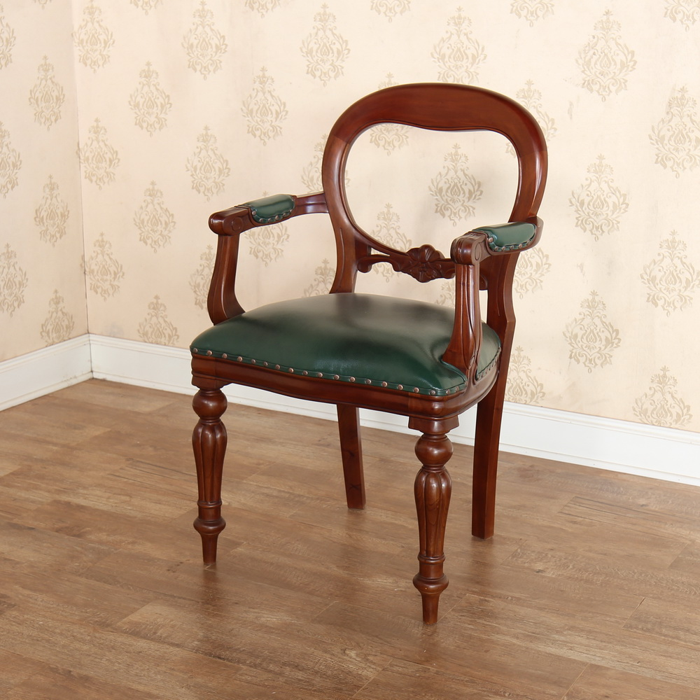 Mahogany Office Furniture: Dutch Office Chair with green leather