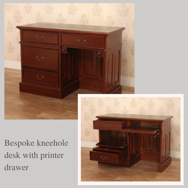 Bespoke Mahogany Desks: Bespoke Kneehole Desk with printer drawer