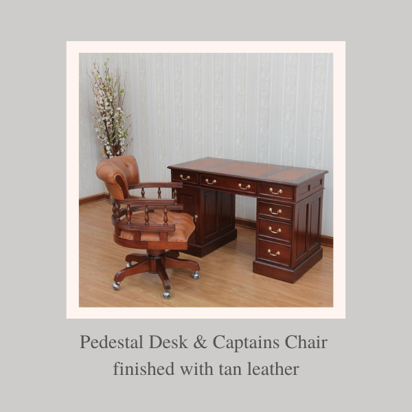 Bespoke Mahogany Desks: Pedestal Desk & Captains Chair finished with tan leather