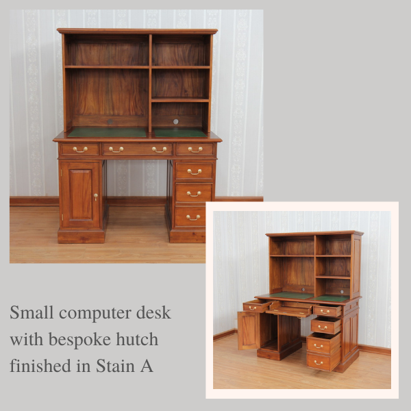 Bespoke Mahogany Desks: Small Computer Desk with bespoke hutch