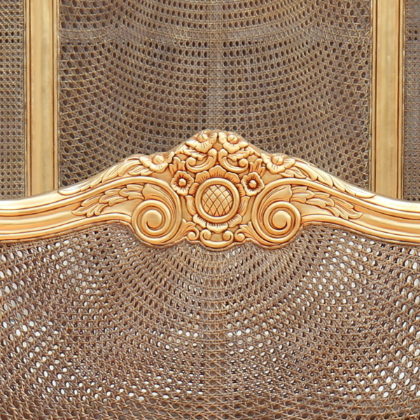 French Rattan Bed: French Carved Rattan Bed with high headboard finished in gold