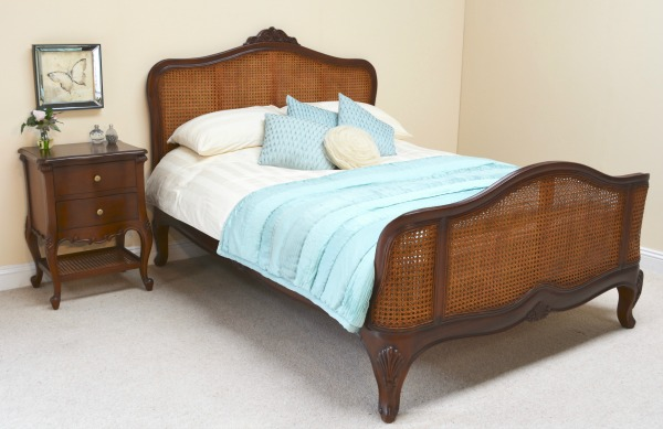 French Rattan Bed: Elegance French Rattan Bed with waxed mahogany finish