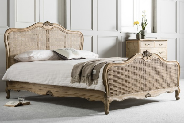 French Rattan Bed: Frank Hudson Chic Cane Bed with a weathered finish