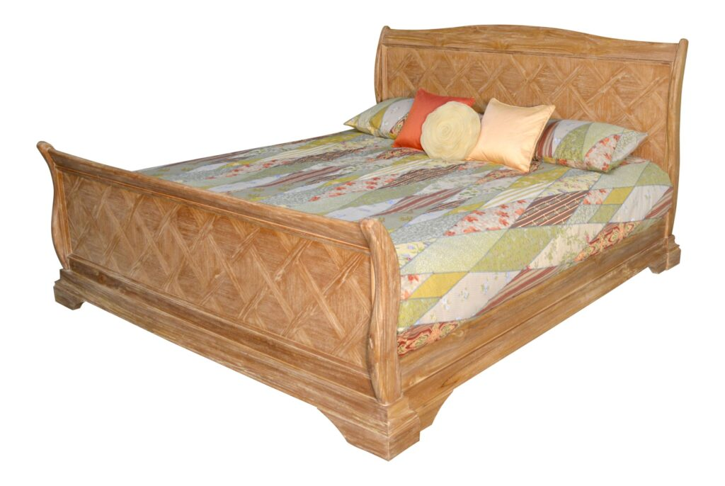 Lyon French Weathered Sleigh Bed
